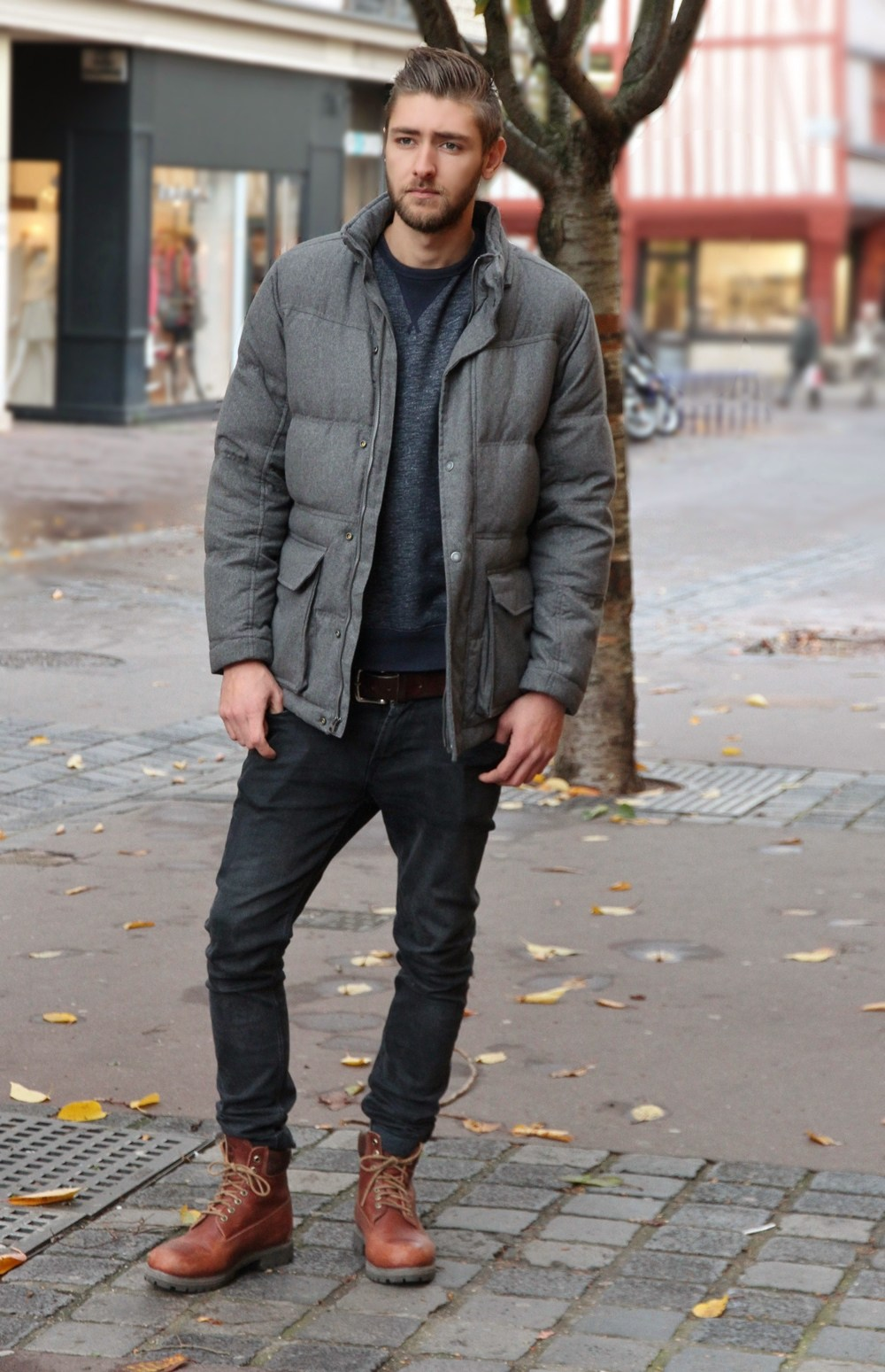 timberland noir homme porté